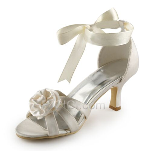 アイボリー ミッド ヒール サンダル ピンヒール 結婚 式 靴 ストラップ付き 24420180415