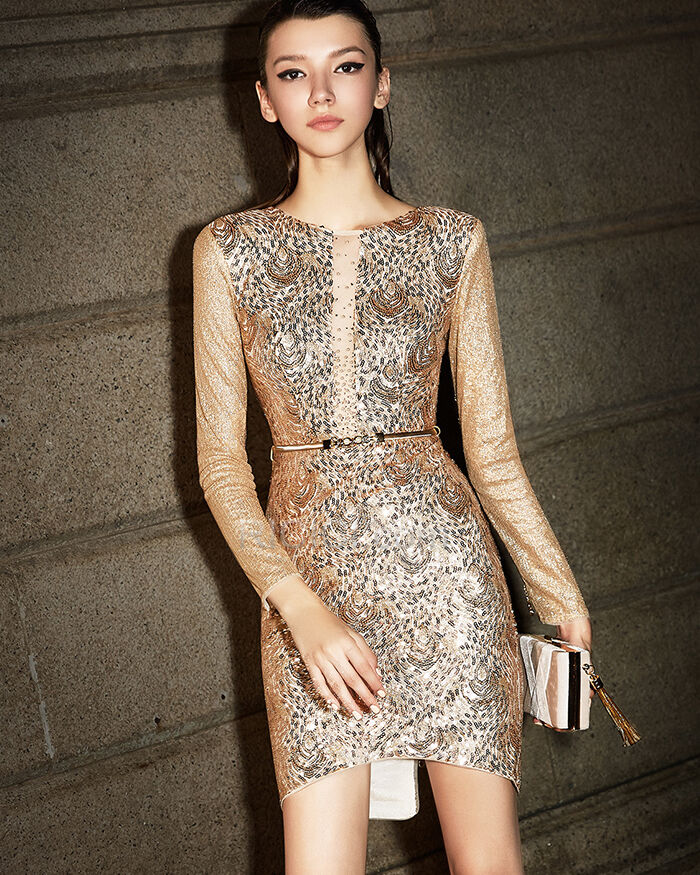 Gold Sequin Glitter Gorgeous Sparkly Gala Cocktail New Years Eve Dress For Party Short Long Sleeve Deep V Neck Sheath Ricici Com