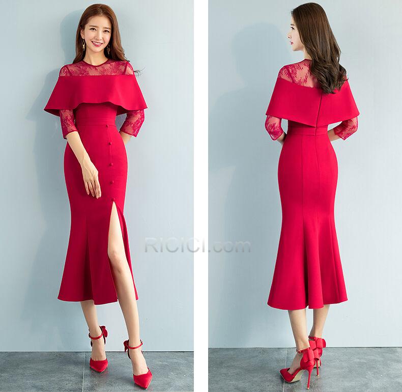 Shopping For Sheath Lace Ankle Length Beautiful Peplum Semi Formal Dress Ruffle Dress For Wedding Guest Red Half Sleeve Fall Ricici Com