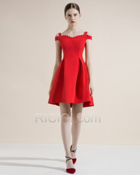 Fit And Flare Appliques Semi Formal Dresses Open Back Charming Short Red Cocktail Dress Princess Simple