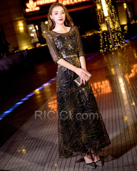 Cocktail Dress Sequin Prom Dresses Juniors Tulle Sparkly Empire Half Sleeve Chocolate Formal Evening Dress