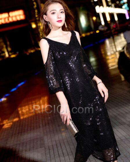 Sparkly Black Sheath Cocktail Dress Tea Length Sequin Juniors