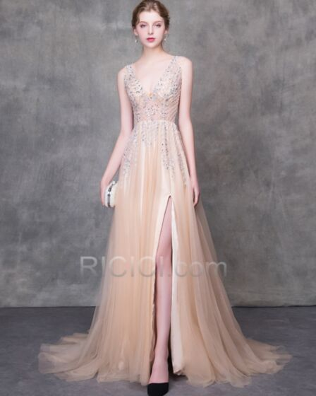 Long A Line Backless Summer Evening Dresses Sequin See Through Prom Dresses Sexy Sparkly