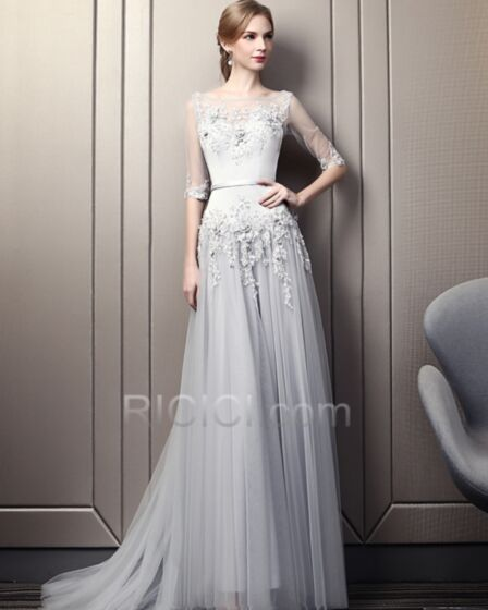 Fit And Flare Backless Spring Beautiful Evening Dresses Long Dress For Special Occasion Prom Dress Appliques Bohemian Gray