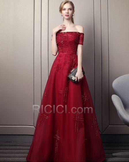 Long Formal Evening Dresses Beaded Elegant Spring Sparkly Bandeau Empire Burgundy Open Back Off The Shoulder