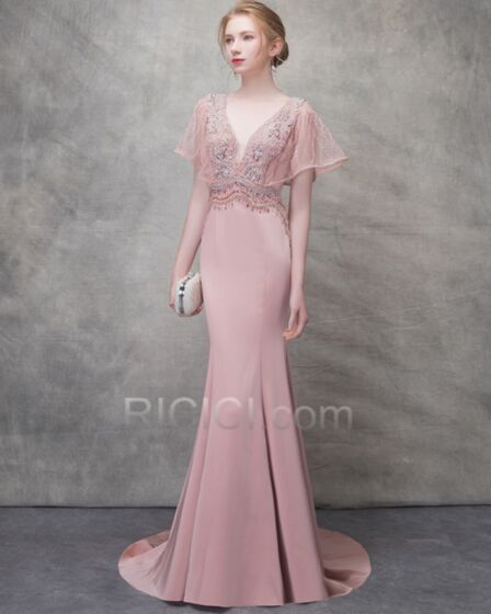 Mermaid Beading Backless Formal Evening Dresses Low Cut Blush Pink Prom Dresses Long Tulle Gorgeous Elegant With Train Bohemian