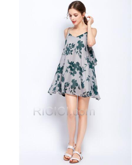 Open Back Smock Summer Boho Printed Beachwear Tunic 2018 Sundress Spaghetti Strap Dress Olive Green Short