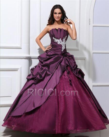 Bandeau Appliques Ruffle Open Back Engagement Dresses Prom Dresses Ball Gowns Plum Quinceanera Dresses Organza Spring