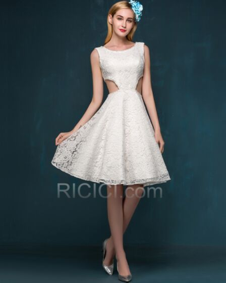 Short Bridal Gowns Open Back Ivory Cute Out Fit And Flare Beach Reception Lace