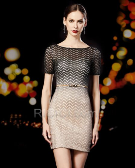 Lace Sheath Cocktail Party Dress Glitter Sparkly Short Black Semi Formal Party Dress Party Gowns