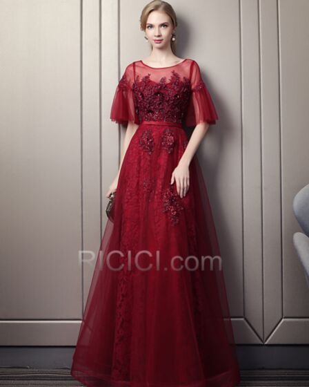 Formal Evening Dresses Half Sleeve Lace Open Back Tulle A Line Burgundy