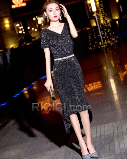 Sparkly High Low Club Dresses Sequin Cocktail Dress Plunge Semi Formal Dress