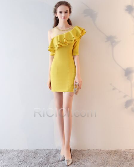 Short Peplum Sheath Yellow One Shoulder Cocktail Dress Half Sleeve Cute