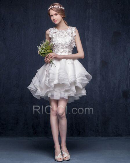 2018 Summer Beach Bridal Gown Reception Bohemian Wedding Dresses Tulle Lace Short Appliques White