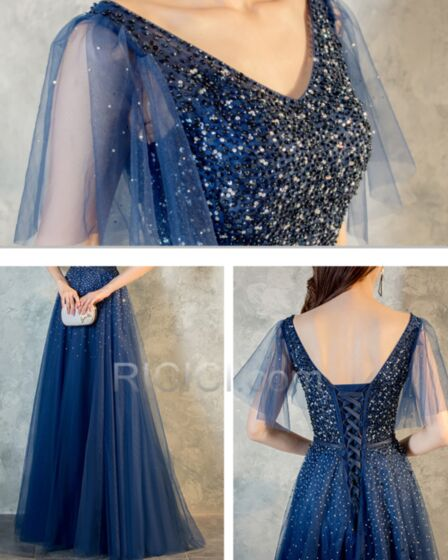 A Line Luxury Prom Dresses Beading Appliques Navy Blue Sweet 16 Dresses Scoop Neck Homecoming Dress Sequin Open Back Tulle Half Sleeve Long