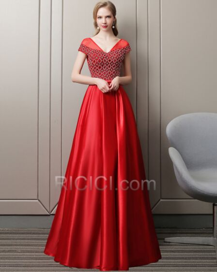 Organza Red Empire Sleeveless Long Beaded Homecoming Dresses Evening Dress