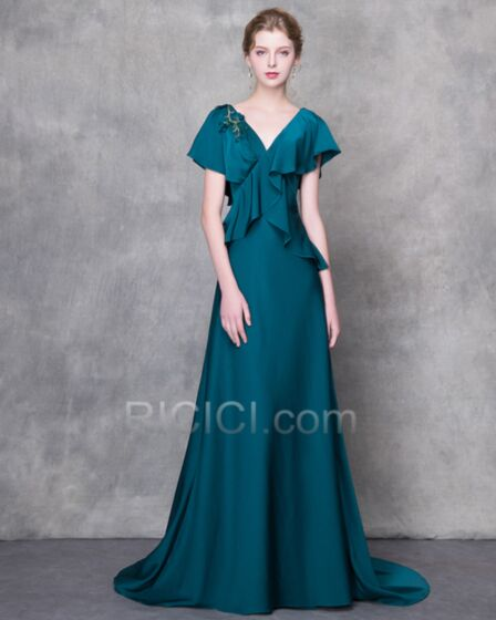 Appliques Long Peplum Formal Evening Dress Empire Mother Of Groom Dress Charming