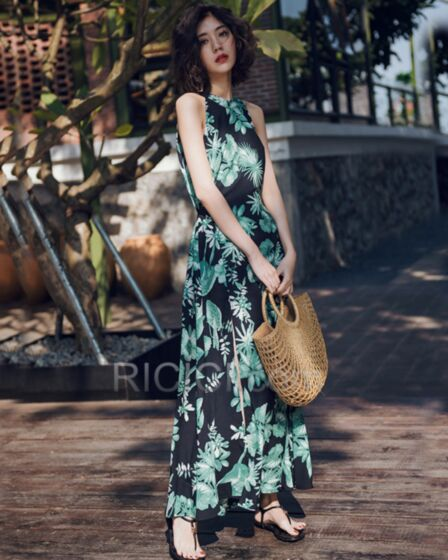 Dresses Sexy Summer Olive Green Beachwear Printed Sundress Bohemian Backless Halter
