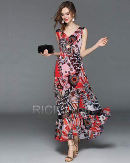 Open Back Low Cut Dress Everyday Dress Bohemian Princess Colorful Chiffon Beachwear Summer