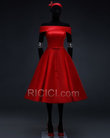Fit And Flare Bridesmaid Dress Simple Short Sleeve Red Vintage