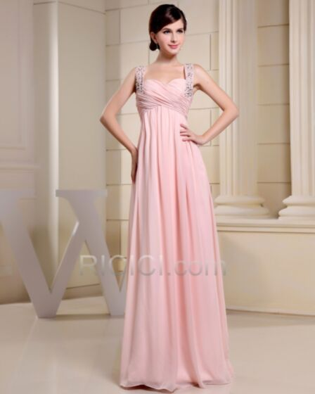 Long Sweetheart Chiffon Formal Evening Dress Pink Empire Pleated Cute