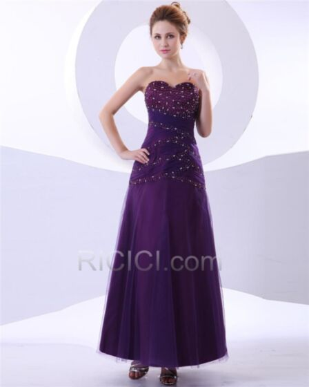 Strapless Sweetheart Ankle Length Chiffon Formal Dresses Elegant Empire Appliques Pleated