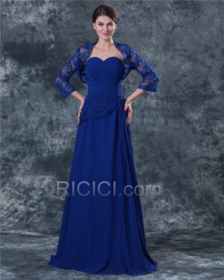 Chiffon Lace Royal Blue Pleated Mother Of Bridal / Groom Formal Evening Dress For Party Charming Long Empire