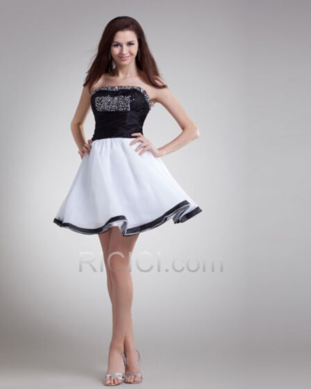 Chiffon Sequin Sweet 16 Graduation Party Dress Black And White Beaded Backless Short Strapless Fit And Flare