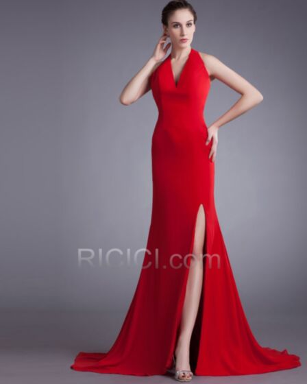 With Train Deep V Neck Halter Vintage Red Simple Evening Prom Dress For Party Backless Satin