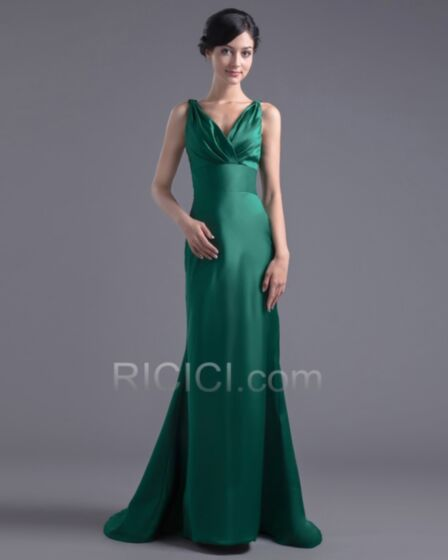 Flounce Open Back Long Dark Green Bridesmaid Evening Dress For Party Simple Mermaid Plunge Satin