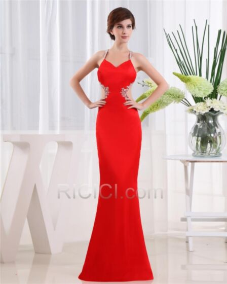 Appliques Backless Sexy Satin Red Formal Evening Dress For Occasions Long