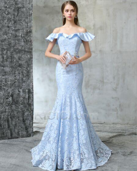 Long Ruffle Backless Peplum Lace Sweet 16 Homecoming Evening Dress Mermaid Sheath Beautiful
