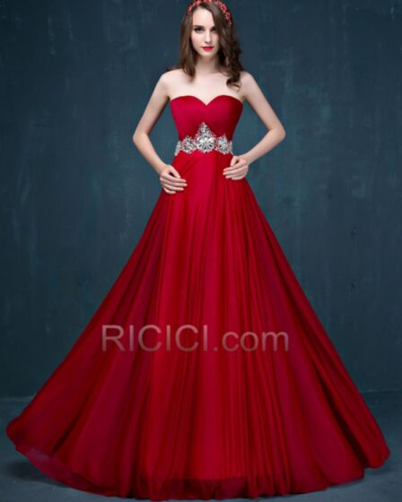 Pleated Crystal Bridesmaid Formal Dress Chiffon Sleeveless Empire Long Simple Elegant Bandeau