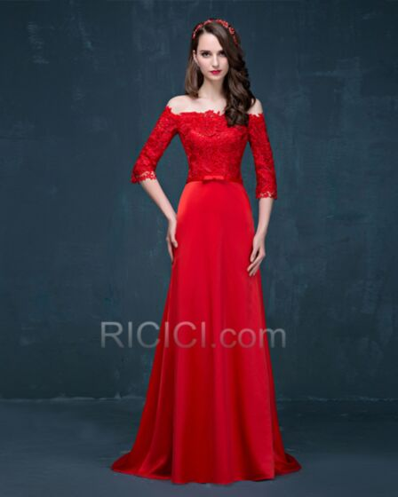 Strapless Backless Rhinestones Sexy Half Sleeve Lace Empire Formal Evening Bridesmaid Special Occasion Gown
