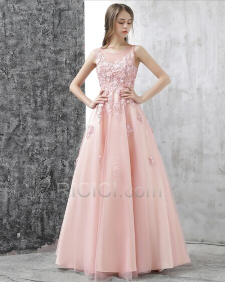 Princess Lace Tulle Pink Appliques Backless Sweet 16 Prom Dress Beautiful Boho