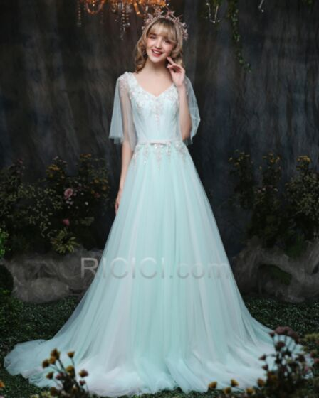 Tulle Appliques Backless Half Sleeve Low Cut Light Blue Princess Sweet 16 Prom Evening Dresses Long Chic Sexy