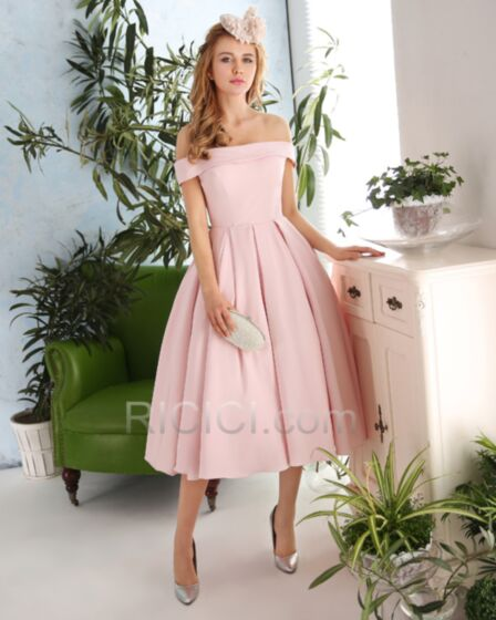 A line Ruffle Backless Satin Strapless Choker Neck Tea Length Bridesmaid Party Dress