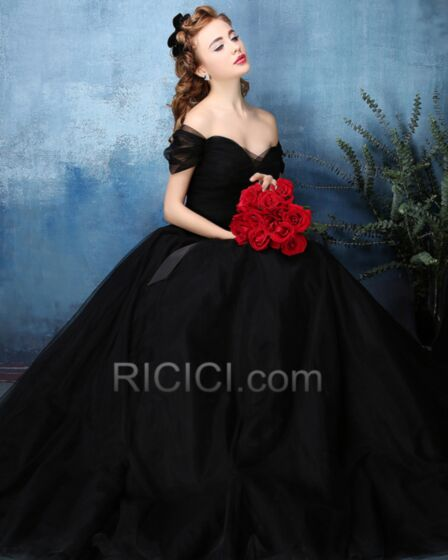 Prom Dress For Occasions Backless Pleated Tulle Short Sleeve Black Strapless Sweetheart A line Vintage Beautiful