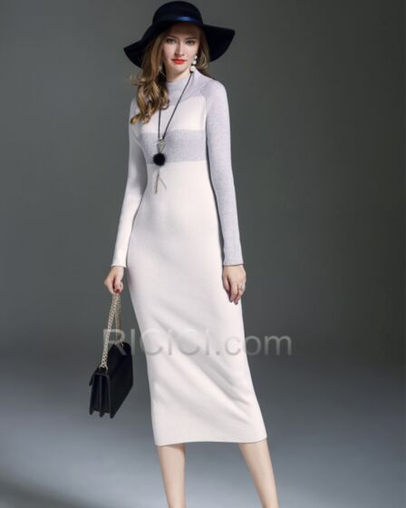 White Long Sleeve Casual Office Dresses Sheath Simple Elegant Sweater