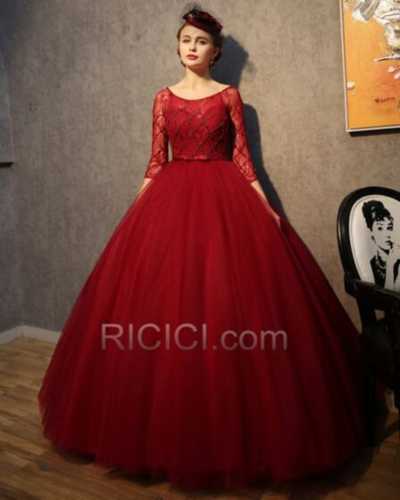 Prom Quinceanera Special Occasion Gown Burgundy Vintage Luxury Ball Gown Tulle Lace