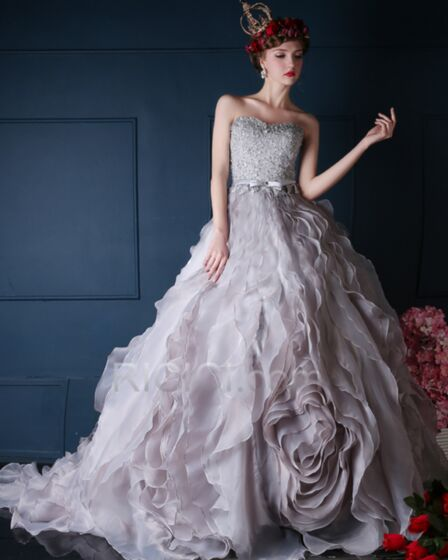 Strapless Appliques Backless Belt Tassel Ball Gown Long With Train Quinceanera Prom Dress For Occasions Tulle Lace Gray