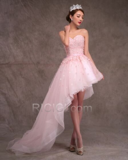 Wedding Dresses Beach Reception Tulle Lace Bandeau High-Low Sleeveless Asymmetrical Bohemian Beautiful Pink Customizable