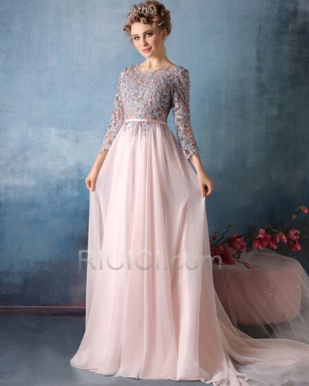 Bridesmaid Prom Formal Evening Dress Long With Train Charming Belt Half Sleeve Pink Empire Chiffon Lace