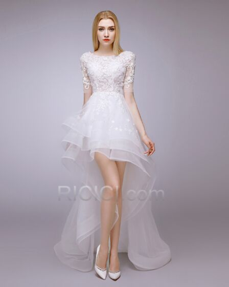 Short High-Low Asymmetrical Bohemian Short Sleeve Wedding Dress Beach Reception Beaded Backless White Tulle Lace
