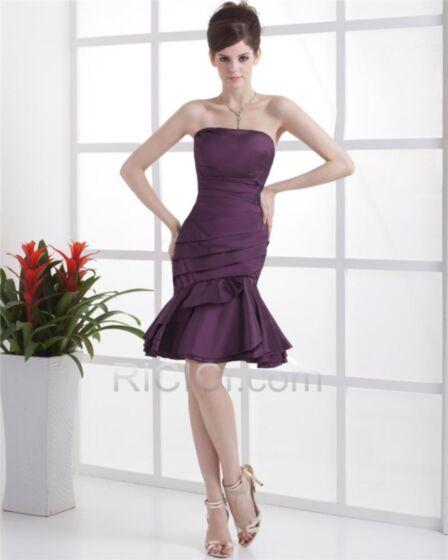 Wedding Guest Cocktail Dress For Party Simple Sleeveless Satin Short Mermaid Strapless