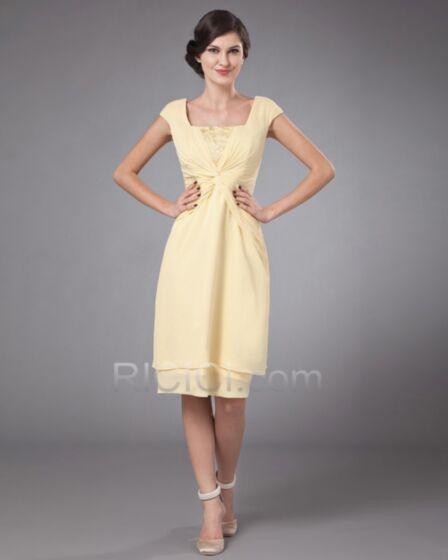 Knee Length Wedding Guest Mother Of Bridal Dress Chiffon Yellow Empire