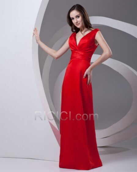 Charming Simple Red Empire Satin Flounce Plunge Formal Evening Dresses Sleeveless Long