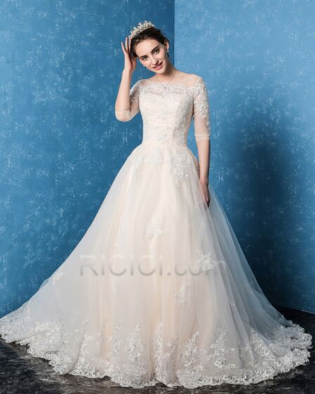 Ball Gown Elegant Ivory / Beige Long With Train Wedding Gown Fall Winter Half Sleeve Tulle Scoop Neck