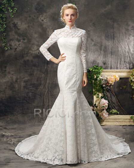 Lace Sheath Mermaid Fall Long Sleeve Open Back Bridal Gown White Modest Charming
