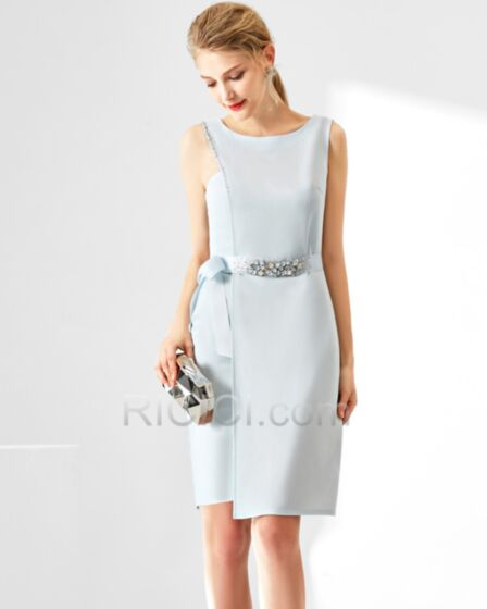 Beautiful Sheath Going Out Wedding Guest Work Dress Scoop Neck Sleeveless Sky Blue Occasion Dress Beilt Crystal